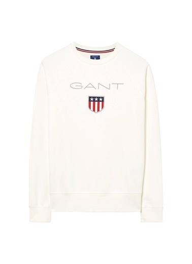 Gant Baskılı Kapüşonlu Sweatshirt Krem